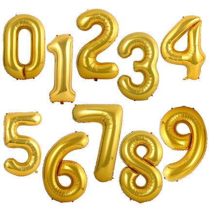 1pcs 32 inch Bright Golden Number 0 to 9 Balloon