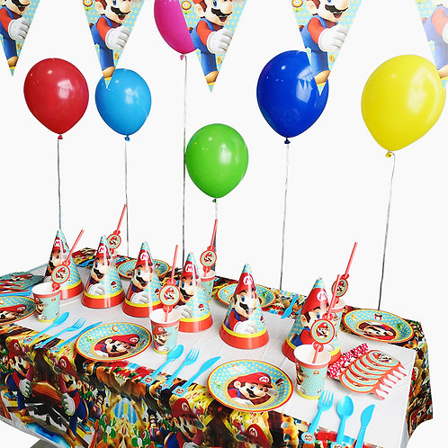 Super Mario Themed Party Table Decorations 16 Sets for 6 Kids