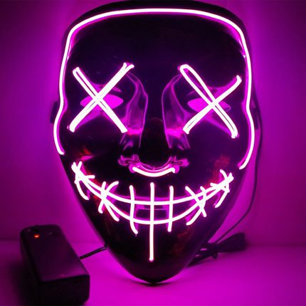 EL Wire Glowing Mask for Halloween Party Cosplay (Pink)