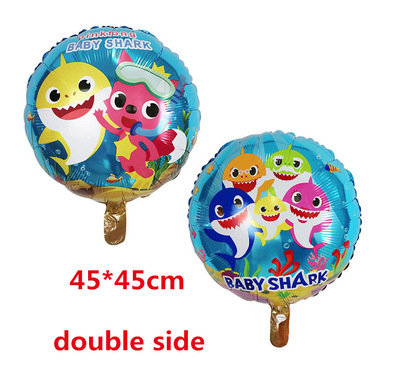 45cm X 45 cm Baby Shark Party Balloon-Double Side