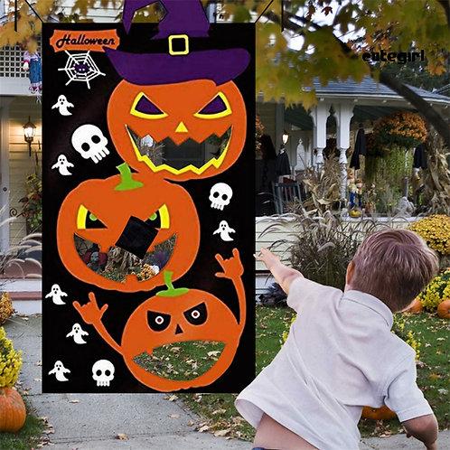 Halloween Outdoor Pumpkin Print Hanging Toss Game Large Felt With 3Pcs Bean Bags