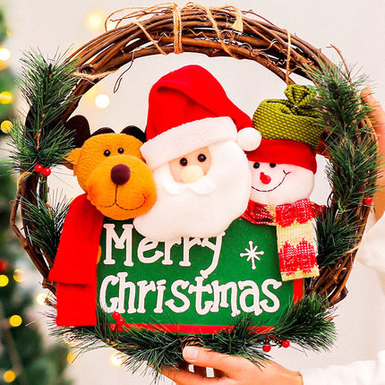 35cm x 35cm Santa Claus and His Two Friends With Rattan Hoop Hanging Decorations