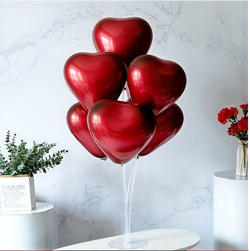 6Pcs Heart Shaped Round Latex Balloon with Stand