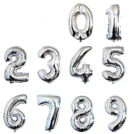 1pcs 16 inch Silver Number 0 to 9 Balloon