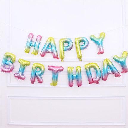 16 inch Happy Birthday Rainbow Balloons Set