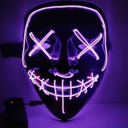 EL Wire Glowing Mask for Halloween Party Cosplay (Purple)