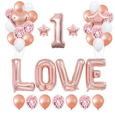 LOVE Rose Gold Balloon Party Decorations Number Balloon Optional