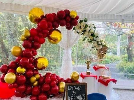 Balloon Party Box balloons decorating a Rice Feeding Ceremony