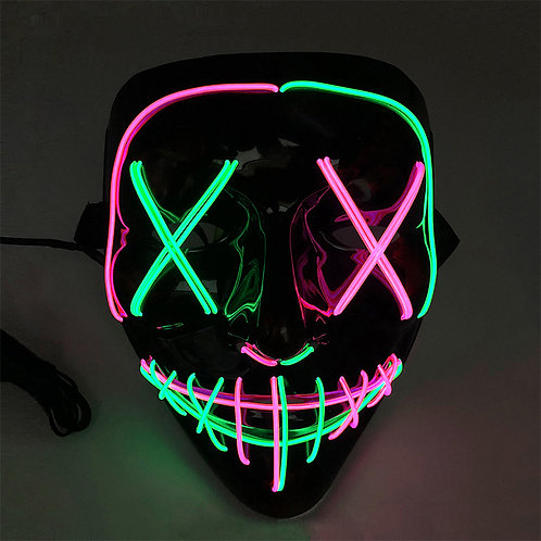 EL Wire Glowing Mask for Halloween Party Cosplay (Mixed Colour)