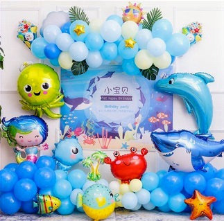 Marine Life Themed Balloon Party Box - Backdrop Includes