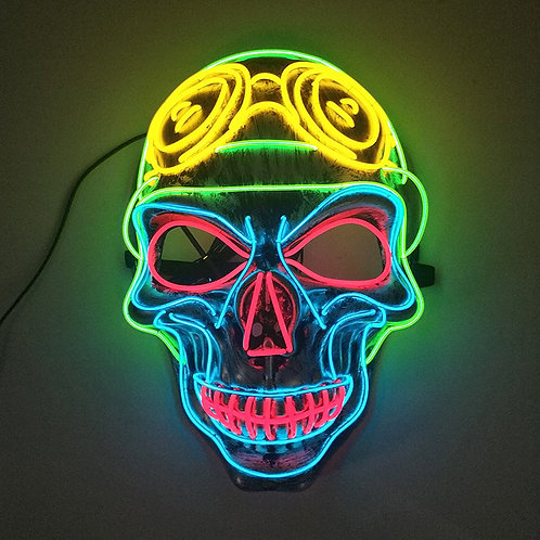 Halloween Light Up Glowing Scary Skull Face Mask Handmade