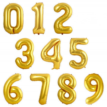 1pcs 16 inch Bright Golden Number 0 to 9 Balloon