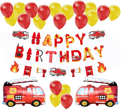 Fire Truck  Themed Balloon Party Decorations