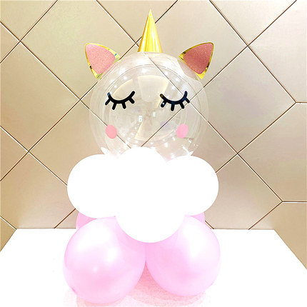 22 inch Eyelash Unicorn Transparent Latex Balloon Set