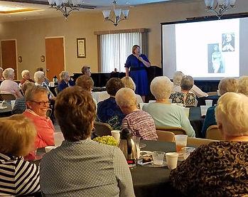 Historian Kathy Wilson presenting her program Straight-laced Girls, Uptight Ladies, & Loose Women
