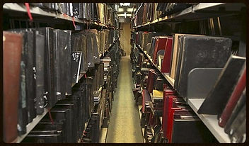 Rows of books in a library