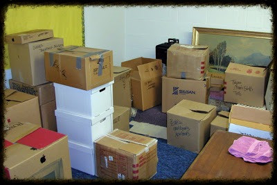 Boxes of donated stuff that need to be sorted.