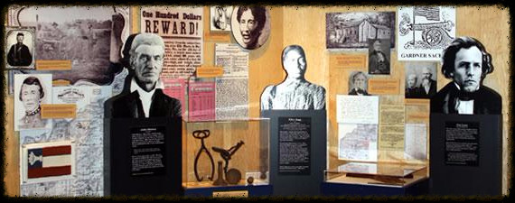 Photo text exhibit w graphics and artifacts