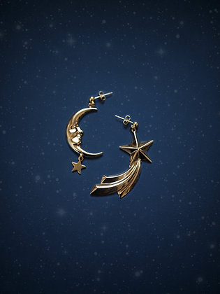boucles d'oreilles MOON & SHOOTING STAR