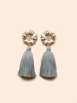 FLOWER boucles d'oreilles pompon vert