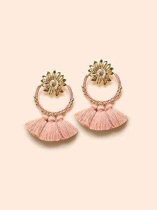 SUNFLOWER MAXI pompon boucles d'oreilles rose