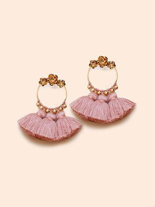 boucle d'oreilles LILA pompon rose