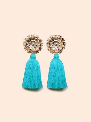 LILA boucles d'oreilles pompon turquoise
