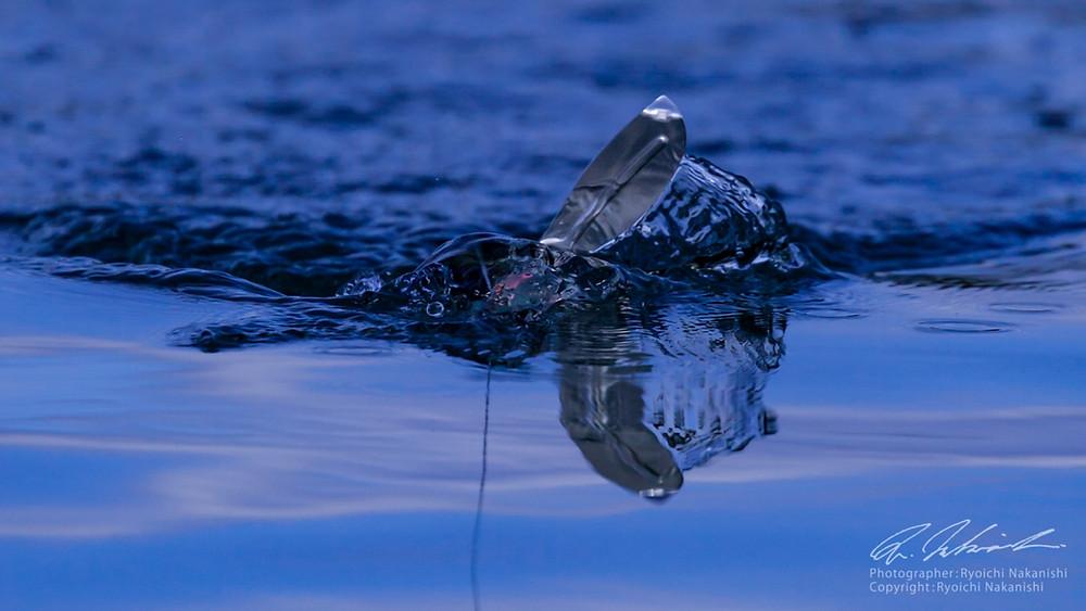 ザックロールYAJIROBEEのクロールアクション。水をボディに絡めながらアクションする。