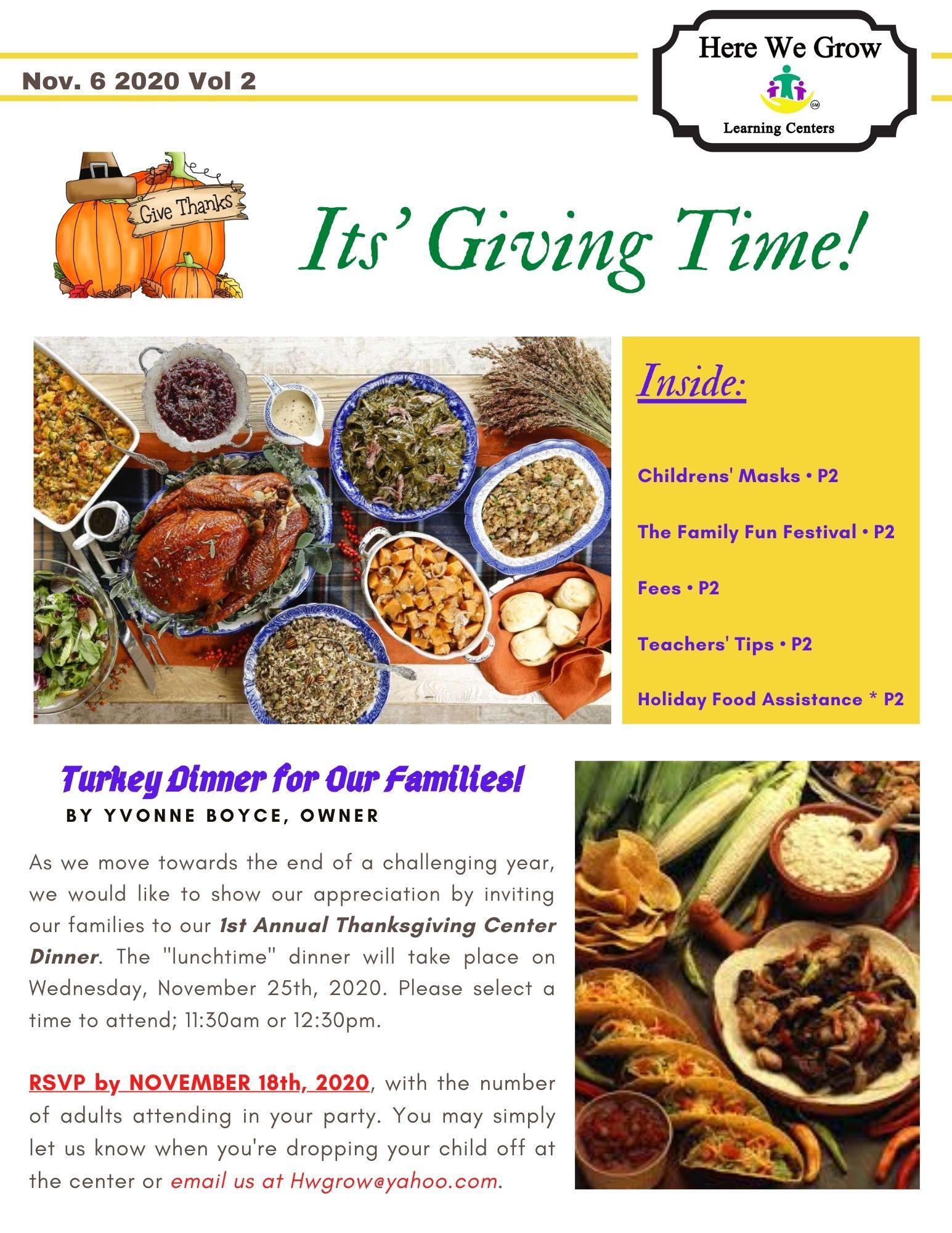 HWG Vol II Nov 2020 Thanksgiving Newslet