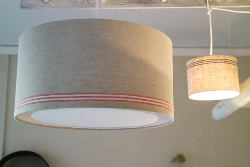 Deckenlampe aus antikem Roll-Leinen, rot gestreift