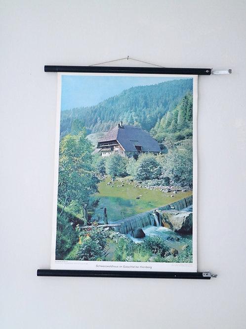 Vintage Schulkarte: Schwarzwaldhaus im Gutachtal