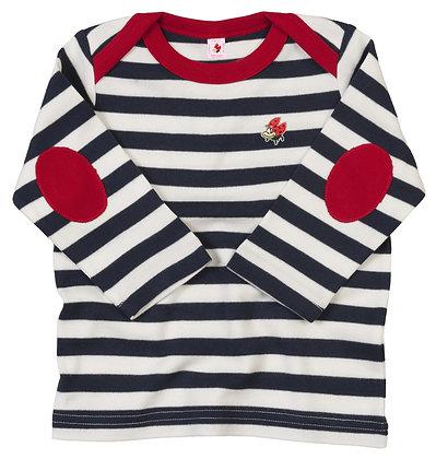 t-shirt baby a righe blu manica lunga con coccinella ricamata