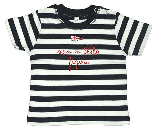 """T-shirt baby righe """"Sono un bel bambino"""""""