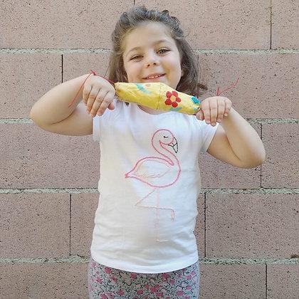 t-shirt bambina fenicottero ricamato a mano