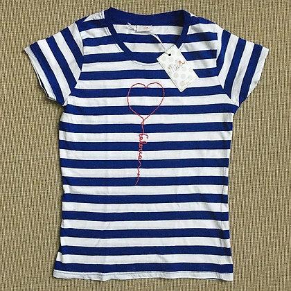 T-shirt donna a righe Mila con palloncino personalizzato