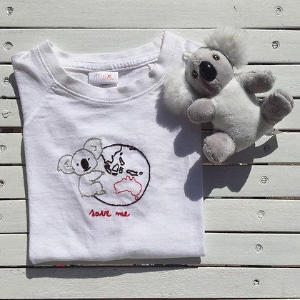 t-shirt ricamo a mano koala