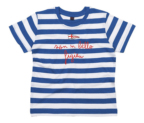 "T-shirt bambino righe ""Sono un bel bambino"""