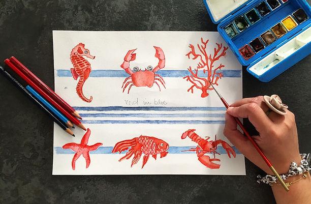 disegno acqurello rossi nel blu