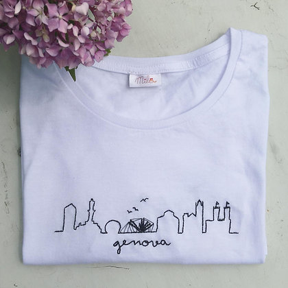 t-shirt cotone ricamata a mano skyline città