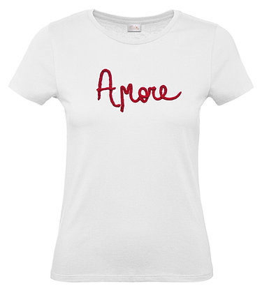 t-shirt donna amore cordone ricamato