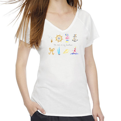 T-shirt donna a V The sea is my direction