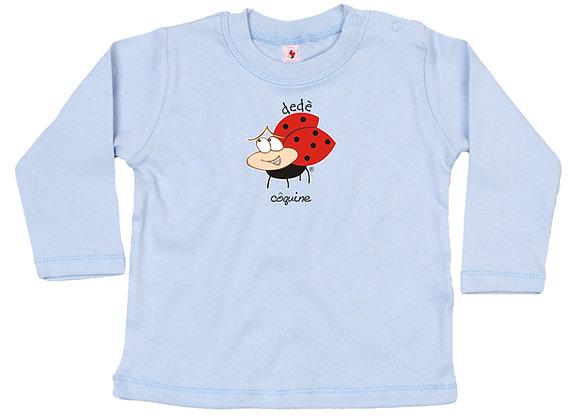 t-shirt baby azzurra manica lunga con coccinella
