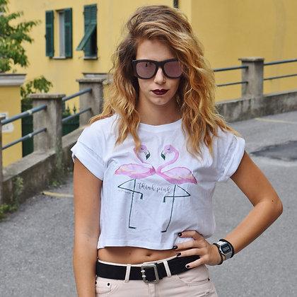 T-shirt top organico donna my Flamingo