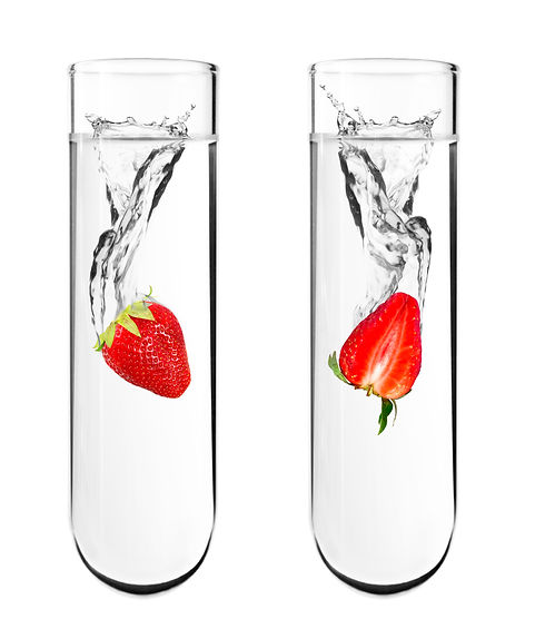 Strawberry dropped in chemical test tube, Biotechnology, Genetically Modified Organisms