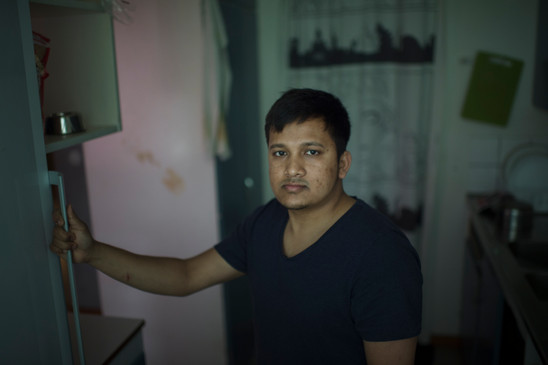 Alamin, 29, in the kitchen on October 3, 2017 in Jakobsberg, Stockholm, Sweden. He has been working for the same employer for four years. For 736 US dollars a month he worked 50 hours a week. For the past month he has been working for another employer, without any pay at all. Both workplaces are Bangladeshi restaurants.  All this to get his working visa. A visa he's been fighting for for over four years.