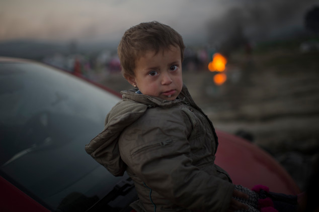Aya, 2, is stranded on the border to Macedonia in Idomeni, Greece, March 20, 2016. According to Unicef 43 000 people are stuck in Greece, 20 000 of them are children.