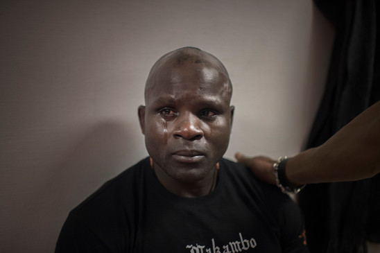 Cobra has traveled from Paris, France, to suport Papy Abedi during the fight against Dylan Andrews on April 1, 2017 at Eriksdalshallen, Stockholm, Sweden. He is emotional after the defeat.