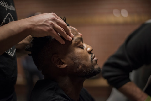 Papy Abedi is geting a massage to get in the right mindset before the fight on April 1, 2017 at Eriksdalshallen, Stockholm, Sweden.