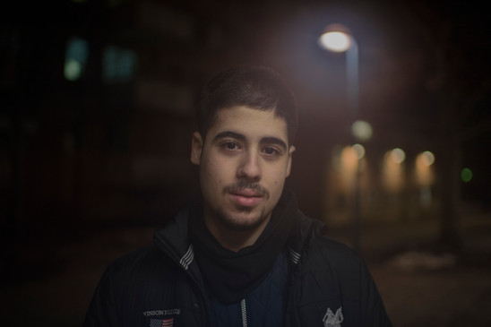 Habib Hallak, 16, outside Rinkeby subway station on January 27, 2017 in Stockholm, Sweden. Habib Hallak is not involved in the criminal gangs and says that nobody in the suburbs wants to talk to the police.