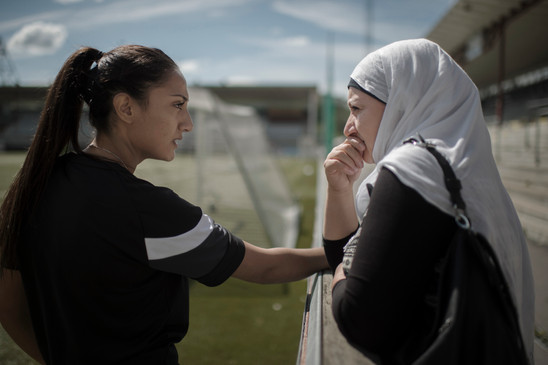 """Hager Ramadan, 21, and her mother Elmaz Ramadan before a game at Malmö IP, Sweden, June 12, 2016.   """"A couple of years ago a neighbour told me that I shouldn't let my daughter play football"""", says Elmaz Ramadan. She's always been her daughters biggest supporter."""